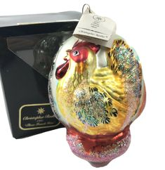 Christopher Radko Three French Hens Christmas Tree Ornament 95-SP-09 Box, Tag Photo Ornaments, Glass Ornaments, Radko Christmas Ornaments, Christopher Radko Ornaments, Twelve Days Of Christmas, Hanging Photos, Disney Halloween, Christmas Wrapping, Hens