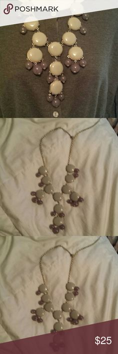 J Crew statement necklace J crew statement necklece. Gold adjustable chain to make the necklace long or short. Symmetrical circular pattern. Beige-y jade large cabachon with antiqued gold links and lilac dangle stones. Great condition. J. Crew Jewelry Necklaces