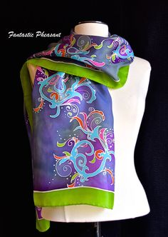 Silk scarf hand painted organic swirling by FantasticPheasant