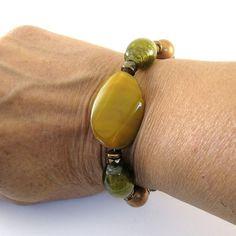 Lemon Agate Bracelet Lemon Lime Glass Antique by CinLynnBoutique, $26.00