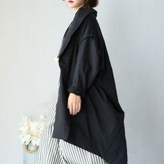 Women Autumn Literature Loose Shoulder Sleeves Black Coat
