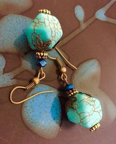 Beautiful Handmade Turquoise stone Bronze Handmade Earrings Nickel free ! #DropDangle