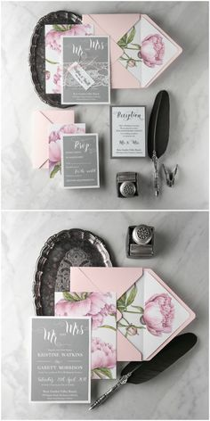 Watercolor calligraphy Peony wedding invitation with lace #pink #grey #peony #wedding #weddingideas #peonies #floral #botanical #calligraphy