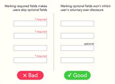 """Research article: """"Why Users Fill Out Less If You Mark Required Fields"""". Better to mark optional fields. Web Design Tips, Ui Ux Design, Interface Design, Ui Design Principles, Cv Web, Ui Forms, Ui Patterns, Ui Design Inspiration, User Experience Design"""