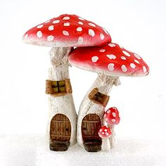 Top Collection Miniature Fairy Garden  Terrarium Cute Mushroom Houses with Pick Decor Red Small -- You can get more details by clicking on the image.