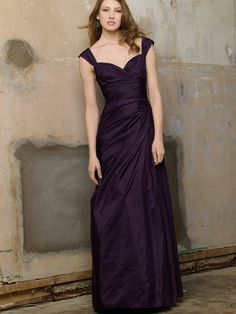 Plum Long Bridesmaid Dress with Wide Straps and Full Skirt