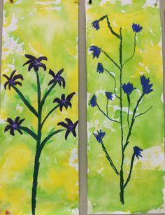 Niityn kasvit vahaväreillä. Tausta silkkipaperilla.