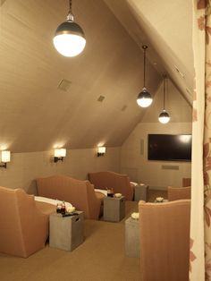 Would love to have an Attic Home Theater like this in my home..very cool idea.