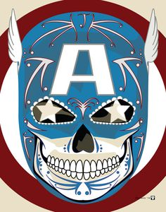 """Captain America"" Sugar Skull Print inspired by the character from the Marvel comics and movies"