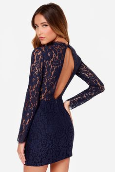 Keepsake Run the World Navy Blue Long Sleeve Lace Dress at LuLus.com!