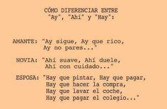 """Cómo diferenciar entre """"ay"""", """"ahí"""" y """"hay"""". (gracias a @0RTOGRAFIA)"""