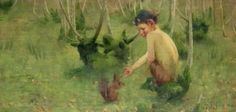 'A Faun feeding a Squirrel' -  Marianne Stokes (1855-1927) was an Austrian painter, living and working in England. Was considered one of the leading artists in Victorian England.