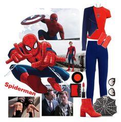 """Spiderman"" by allyssister ❤ liked on Polyvore featuring Marvel, Balenciaga, Bernard Delettrez, Ultimate, Roland Mouret, Pinko, Hermès, Miu Miu, MAC Cosmetics and NARS Cosmetics"