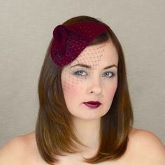 PARIS – burgundy felt fascinator with birdcage veil