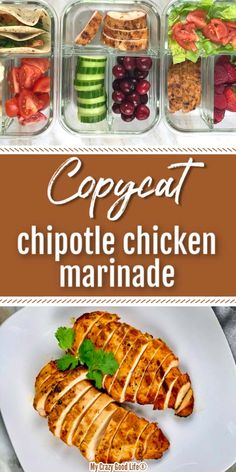 This copycat Chipotle Chicken marinade is healthy! Whether you make shredded chicken burritos, a bowl, or a chicken sandwich, you'll love this easy recipe. #mealprep #copycat #chipotle