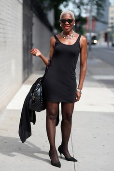 Richelle Jones - ADVANCED STYLE  I have always, all of my life dreamed of wearing a little black dress just like this. I have never had the body for it. But she looks fabulous and I envy her
