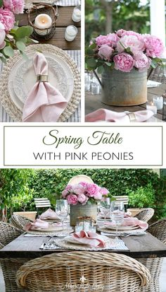 This gorgeous outdoor spring table setting with pink peonies is both casual and chic! Perfect for any spring gathering, from graduation celebrations to showers to Mother's Day brunch!--->#maisondecinq mothersdaybrunch mothersdaytable springtable springtablesetting springtablescape tablescape tablesetting tablesettingideas entertainingideas springentertaining outdoorentertaining graduationparty springshower Mothers Day Decor, Mothers Day Crafts For Kids, Outdoor Table Settings, Table Setting Inspiration, Pink Peonies, Beautiful Flowers, Diys, Porch, Table Decorations