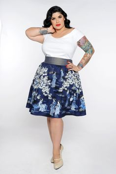 Gypsy Skirt in Geisha Print- Plus Size