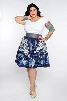 Gypsy Skirt in Geisha Print- Plus Size