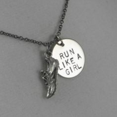 Run Like A Girl Round Pendant Necklace - for Mommy & Quinn