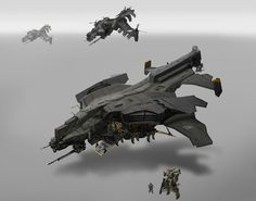 Dropship design by a concept artist in the UK, St. Theo.