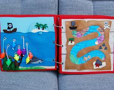 Piratebook - 2 Quiet book pages At sea + treasure map PATTERN & TUTORIAL