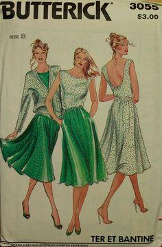"1980s Jacket, Top & Skirt Set Butterick Pattern 3055 Uncut   Size 8  Bust 31 1/2 """