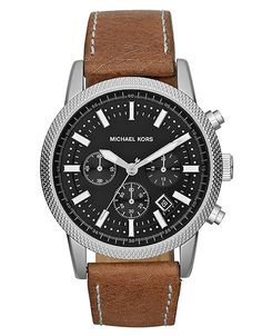 Michael Kors Mens Scout Silvertone Leather Chronograph Watch in Brown for Men | Lyst