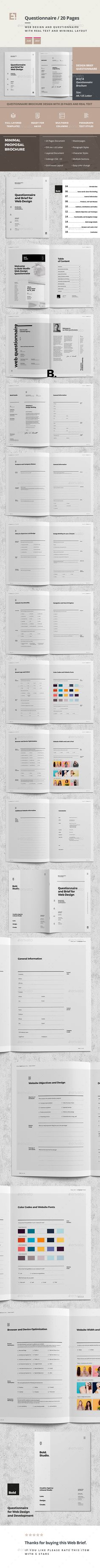 Minimal and Professional Questionnaire Brochure Template InDesign INDD