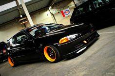 Orange and black civic Honda Civic Vtec, Civic Jdm, Honda Civic Coupe, Honda Civic Hatchback, Honda S2000, Honda Accord, Civic Sedan, Tuner Cars, Jdm Cars