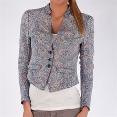 Free People Women's Contemporary Floral Double Weave Printed Blazer #VonMaur #FreePeople #ButtonFront