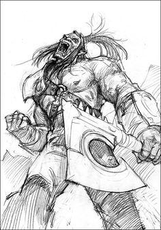 Illustration de Gabor Szikszai et Zoltan Boros Character Sketches, Character Art, Character Design, Cool Sketches, Drawing Sketches, Drawings, Warcraft Orc, Monster Sketch, Orc Warrior