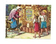 Alte Glanzbilder Oblaten Litho Hänsel und Gretel 11,5x15,5cm ca1930/40