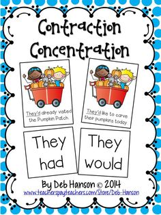 Two FREE Contraction Memory Games (one version is for lower elementary, and this advanced contraction game is for upper elementary)