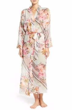FLORA NIKROOZ JULES PRINT CHIFFON ROBE IVORY PRINT $125 - PICK UP OR SHIPS FREE WORLDWIDE! BET PRICE GUARANTEE - MAJOR CREDIT CARDS ACCEPTED - SHOP OUR SSL SECURE WEBSITE: SophiaSpano.com