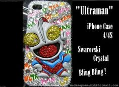 Ultraman iphone cover case skin for 4 /4S Crystal Handmade Hard Case Bling Bling
