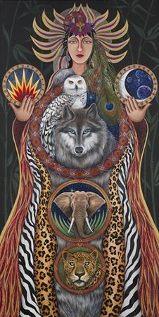 "Spirit Totem Animals: ""Wisdom Seeker,"" by Kay Kemp, Acrylic on Canvas, Private Collection."