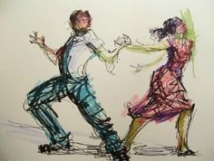 New Year's Jive - original mixed media figurative sketch by Connie Chadwell -- Connie Chadwell
