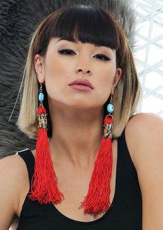 Z Hovak Red Tassel Earrings