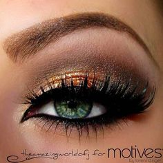 Makeup for green eyes - green eyes love to be the chameleon of the group, and depending on your skintone golden tones can be a very good pair. The black eyeliner all the way around also really makes the lighter eye colors pop