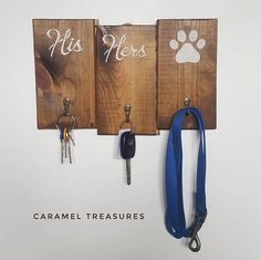 ITEM Rustic hand stencilled, His and Hers wooden wall key holder with 3 iron hooks. This entryway wooden organizer can be use to hang keys, scarfs, hats or any other accessories including your dogs leash. It is designed for day-to-day use, sealed with few coats of varnish which makes it ideal for a domestic use. Our wooden key hangers are made from reclaimed pine wood and decorated with wood stain and chalk paint. This household item is durable with a smooth finish and ready to be hang (…