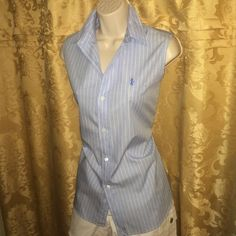Polo Sport sleeveless shirt Crisp cotton button up top. Mint condition! Authentic Polo Sport. Chambray blue with white stripes. Polo Sport Tops Button Down Shirts