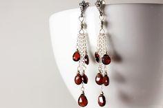 Garnet Earrings, Sterling Silver, wire wrapped deep red gemstone, fine dangle cluster earrings, gift for her, January birthstone, 2798 by AliraTreasures on Etsy https://www.etsy.com/listing/189630514/garnet-earrings-sterling-silver-wire