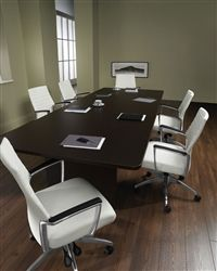 This modern meeting space is highlighted by a rectangular conference table and white leather conference chairs for a totally cool look! http://www.officeanything.com/Global-Laminate-Conference-Table-GCT8WRX-p/gl-gct8wrx.htm