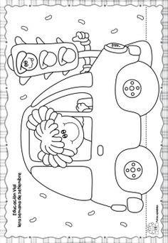 Retoñitos :: Revista para Educadores y Padres Toddler Learning Activities, Color Activities, Preschool Activities, Colouring Pages, Coloring Books, Transportation Theme Preschool, School Template, Kids English, Art N Craft