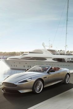 2013 Aston Martin DB9 Coupe Volante (My Favorite..)Silver car @ the Yacht!