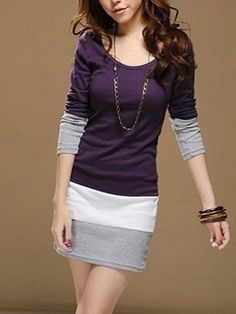Round  Neck Long Sleeve Blended Knitted Dress Knitted Dress from stylishplus.com