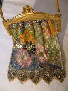 Vintage Art Deco Gold T Floral Enamel Chain Mail Fringe Purse Whiting & Davis #WhitingandDavis #EveningBag