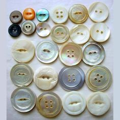 24 Assorted Shell Buttons Small - Medium Mother of Pearl & More  | AestheticsAndOldLace - Supplies on ArtFire