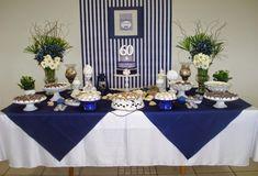 Blue Party Decorations, Blue Wedding Centerpieces, Baby Shower Decorations, Party Themes, Wedding Decorations, Table Decorations, 90th Birthday Parties, Adult Birthday Party, Blue Birthday